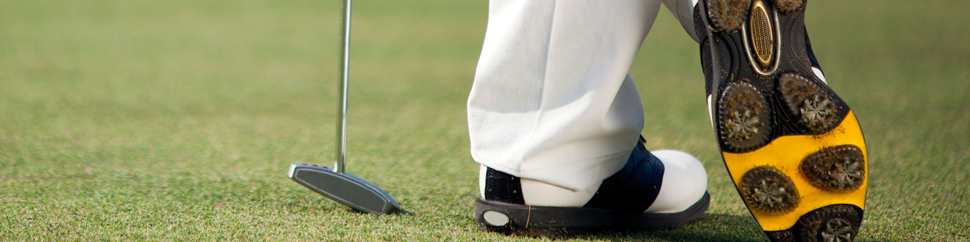 View of a golfer's shoes